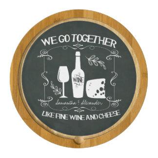 Vintage Chalkboard We Go Together Typography Cheese Platter