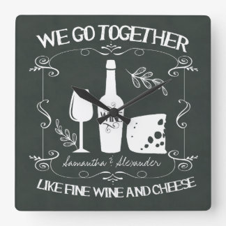 Vintage Chalkboard We Go Together Typography Square Wall Clock