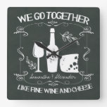 Vintage Chalkboard We Go Together Typography Square Wall Clocks