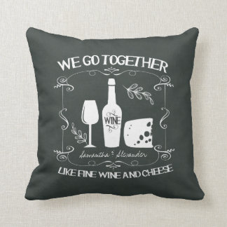 Vintage Chalkboard We Go Together Typography Throw Pillow