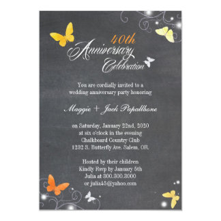 Vintage Chalkboard Wedding Anniversary Invitation