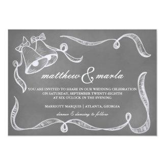 Vintage Chalkboard Wedding Bells Invitation