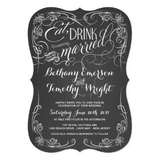 Vintage Chalkboard Wedding Die-Cut Invitations