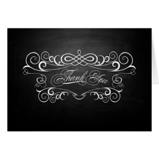 Vintage Chalkboard Wedding Thank You Note Card