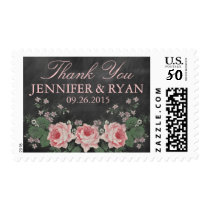 VINTAGE CHALKBOARD WEDDING THANK YOU POSTAGE