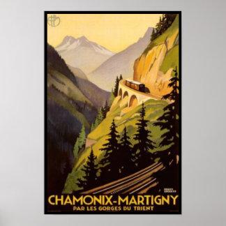 Vintage Chamonix-Martigny Travel Poster