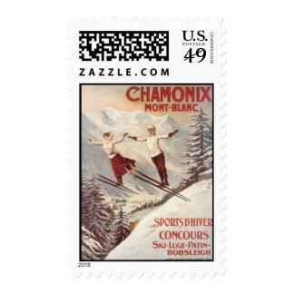 Vintage Chamonix, Mont-Blanc, France - Stamp