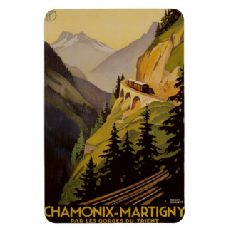 Vintage Chamonix, Mont-Blanc, France - Rectangular Photo Magnet