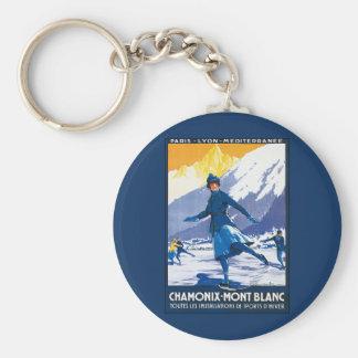 Vintage Chamonix - Mont Blanc Poster Keychain