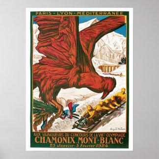 Vintage Chamonix Mont-Blanc travel ad Poster