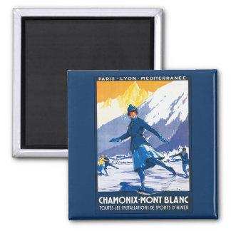 Vintage Chamonix - poster de Mont Blanc Imán Cuadrado