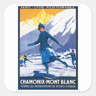 Vintage Chamonix - poster de Mont Blanc Pegatina Cuadrada