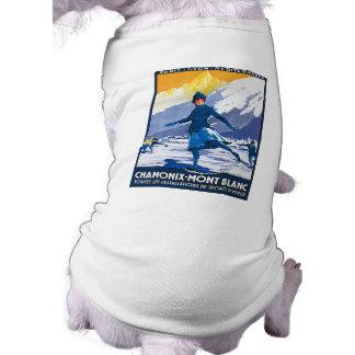 Vintage Chamonix - poster de Mont Blanc Playera Sin Mangas Para Perro