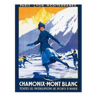 Vintage Chamonix - poster de Mont Blanc Postal