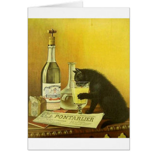 Vintage Champagne Drinking Black Cat Note Card