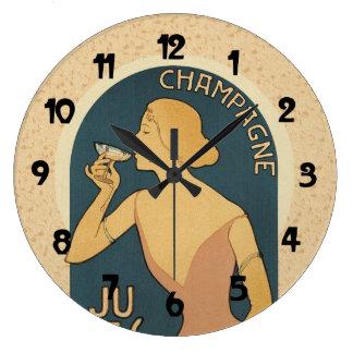 Vintage Champagne Poster Art Large Clock