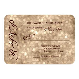 Vintage Champagne Sparkle Wedding RSVP Cards