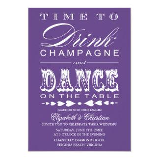 Vintage Champagne Theater Bill Wedding Invitation