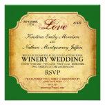 Vintage Champagne Winery Wedding Invitation
