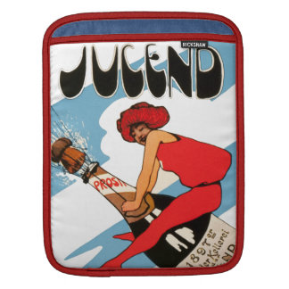 Vintage Champagne Woman Ride Bottle Retro German Sleeve For iPads