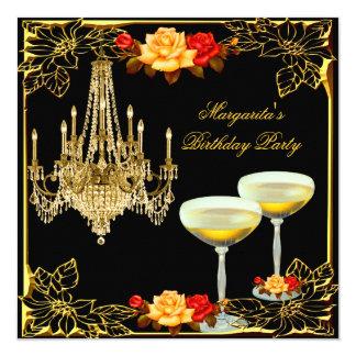 """Vintage Champán de la fiesta de cumpleaños de la Invitación 5.25"""" X 5.25"""""""