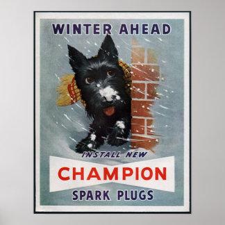 Vintage Champion Spark Plugs Ad Poster