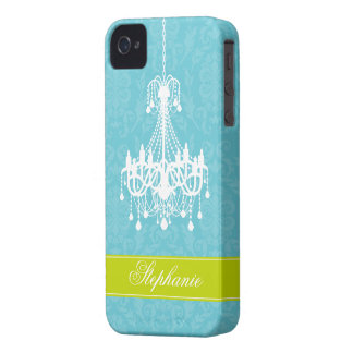 Vintage Chandelier and Damask Pattern iPhone 4 Case-Mate Cases