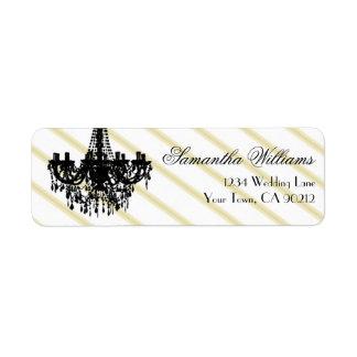 Vintage Chandelier Black and Gold Label