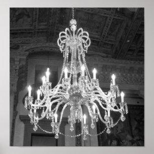 Chandelier art framed artwork zazzle vintage chandelier black and white photo poster aloadofball Gallery