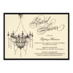Vintage Chandelier Bridal Shower Invite - Tan Personalized Announcements
