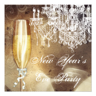 Vintage Chandelier Champagne New Years Eve Party Personalized Announcements