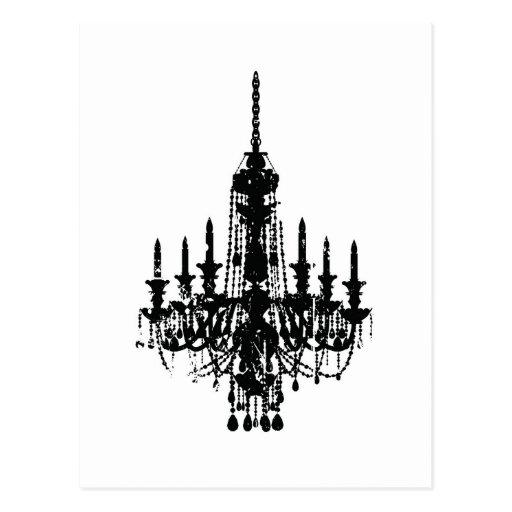 vintage chandelier design postcard