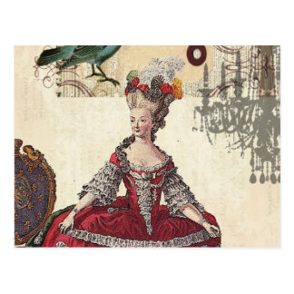 Vintage Chandelier french queen  Marie Antoinette Postcard