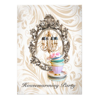 vintage chandelier Housewarming Party invitation