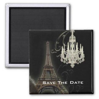 vintage Chandelier Paris Wedding SaveTheDate 2 Inch Square Magnet