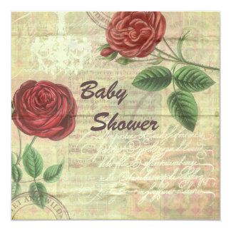 Vintage Chandelier & Red Roses Collage Baby Shower Card