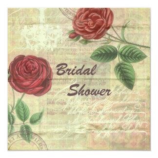 Vintage Chandelier Red Roses Collage Bridal Shower Card
