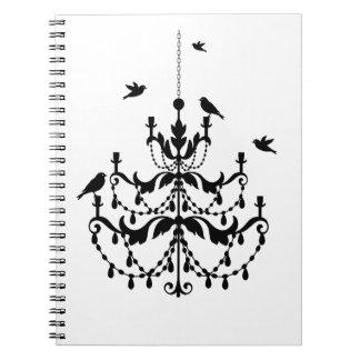 Vintage chandelier silhouette with birds spiral note book