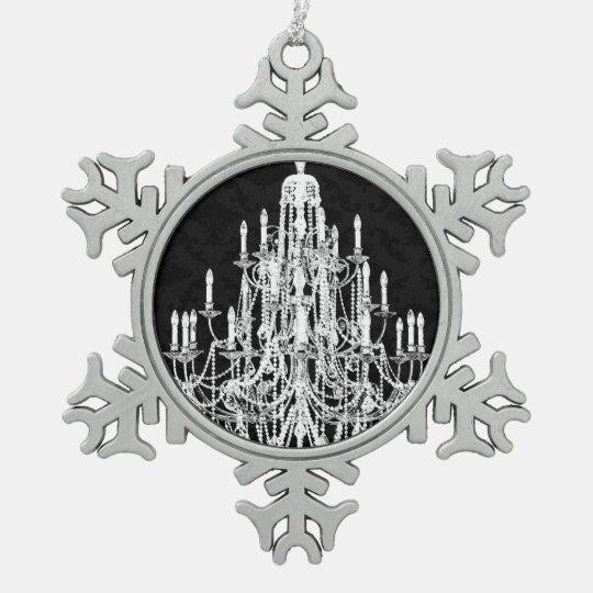 Vintage Chandelier Snowflake Pewter Christmas Ornament