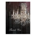 vintage chandelier wedding thank you postcard