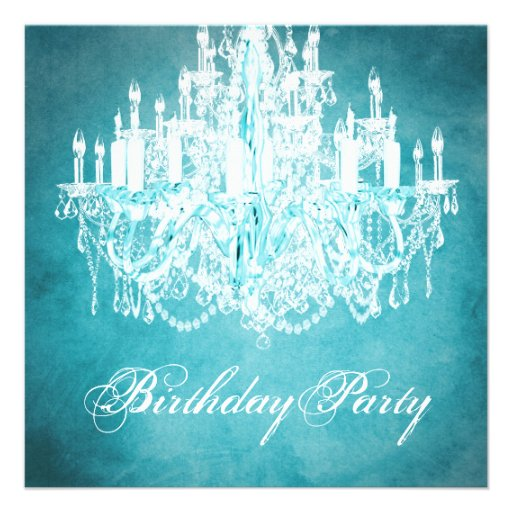 Vintage Chandelier Womans 40th Birthday Party Personalized Invitations