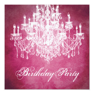 Vintage Chandelier Womans 40th Birthday Party 5.25x5.25 Square Paper Invitation Card