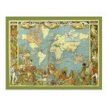 Vintage Change of Address, Antique World map Postcards
