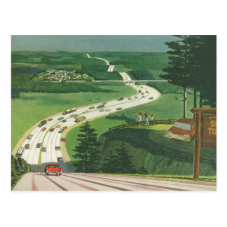 Vintage Change of Address, Scenic Road Trip Cars Postcard
