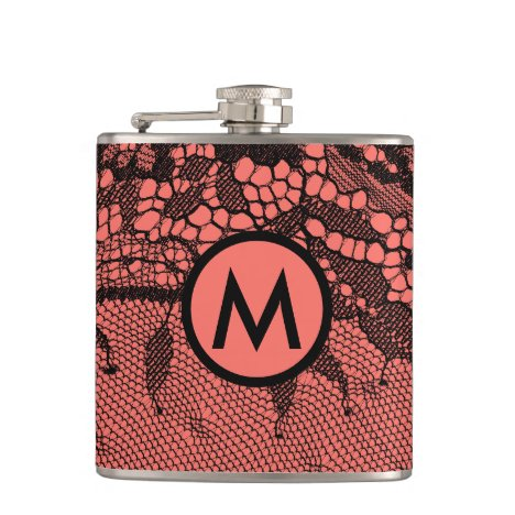 Vintage Chantilly Lace Black/Coral Monogrammed Flask