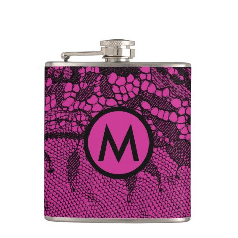 Vintage Chantilly Lace Black/Fuschia Monogrammed Flask