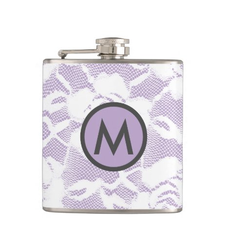 Vintage Chantilly Lace Black/Lavender Monogrammed Flask