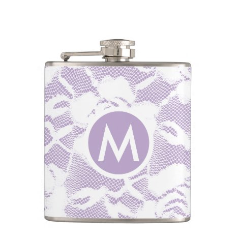 Vintage Chantilly Lace White/Lavender Monogrammed Flask