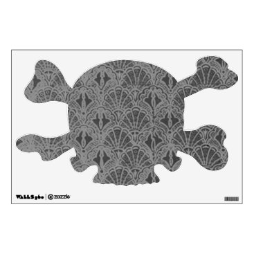 Halloween Themed Vintage Charcoal Black Skull Crossbones Wall Decal