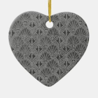 Vintage Charcoal Shells Black Heart Ornament